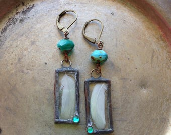 Real Feather Rustic Blue Green Earrings