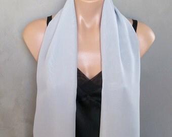 Gray Chiffon Scarf Wrap