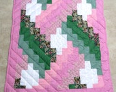 Custom for Constance, Weaver's Fever Doll Quilt, pink, green floral, patchwork, hand quilted, handmade