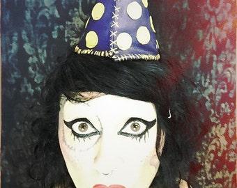 Yellow polka dot party hat, purple leather dunce cap, clown wedding, circus, geek, nerd hat, silly hat, fun cosplay costume, mardi gras hat
