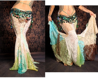 Long Flowing Mermaid Skirt, gorgeous lace patchwork, Siren costume, belly dance, steampunk, gothic lolita wedding, vampire, woodland fairy