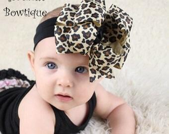 Leopard baby headband, leopard print headband, double stack bows, infant headbands, cheetah headband, hair bows for girls, boutique bows
