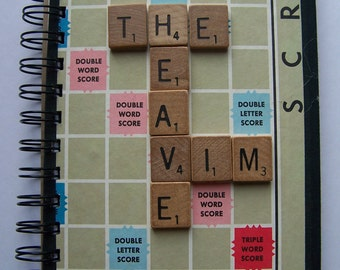 Recycled Scrabble Board Spiral Bound Journal Upcycled Tablet Notebook