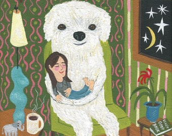 White Dog and Girl Art Print - Home Sweet Home - Whimsical Folk Fluffy Little White Poodle Bichon Frise Bolognese Cotonese Artwork
