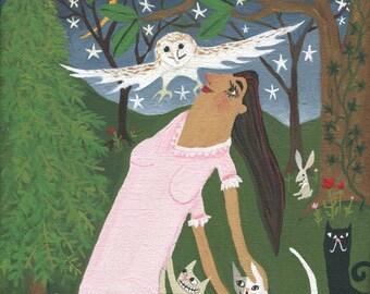 Girl w Cats & Owl Art Painting - Whimsical Original Woodland Artwork Wall Decor - Mouse Rabbt Moon and Stars Outsider Folk