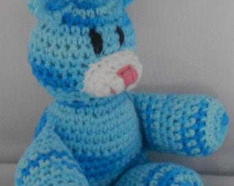 Aqua Marine Crochet Easter Bunny - Amigurumi Rabbit - Bunny Rabbit Plushie - Stuffed Bunny Rabbit Toy - Plush Bunny Rabbit - Aqua Blue Bunny