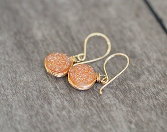 Druzy Dangle Earrings , Gemstone Drop , Peach Bezel Wrapped Drops in 14k Gold Filled , Rose Gold , Sterling Silver  - Clementine