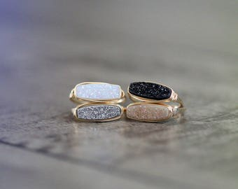 Druzy Bar Ring , Modern Stacking Ring in Gold , Rose , Sterling Silver , Choose Your Color , Handmade Wire Wrapped Ring