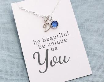 Personalized Initial Birthstone Necklace | Cursive Initial Charm | Personalized Jewelry | Monogram | Swarovski | Sterling Silver | X02