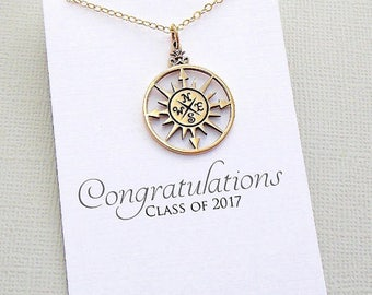 Class of 2017 | Compass Necklace, Graduation Gifts, Graduation Gifts for Her, Student Gift, College Student, High School, Compass Rose | G04
