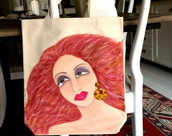 new...TULLULAH TOTE, hand painted tote, flaming red hair, vintage earring, animal print, shoe tote, book tote, gift for her, grocery tote