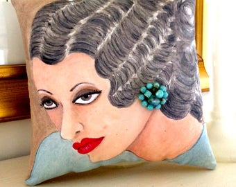 NOTORIOUS DAME BETTE.  hand painted pillow, quote Bette Davis, gift for woman, French blue, vintage earring, taupe, Mothers Day, hollywood