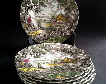 Set 6 Myott Staffordshire, The Hunter, Bread & Butter Plates, Transferware China Ceramic Dishes Made in England, Multicolor