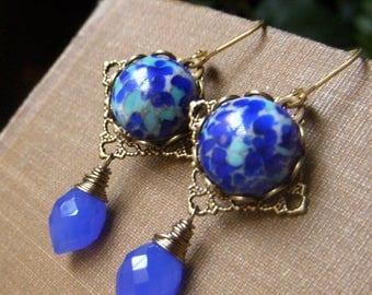 Bohemian Earrings, Cobalt Earrings, Chalcedony Earrings, Cobalt Blue Glass Earrings, Filigree Dangle Vintage Inspired Cabochon