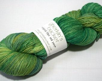 Hand Dyed Artisan Yarn, Tonal Kettle Dyed Heavy Lace, Multicolor SW Merino Wool Sock Yarn, Vegetate #12017, Long Stride Sock (750yds)