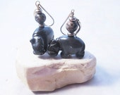 hippo earrings - hematite...