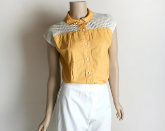 Vintage 1960s Blouse - Mustard Yellow Textured Cotton with White Net See Through Shoulders - Medium Large