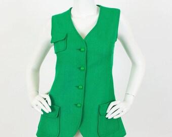 E.Papiernik France 1960's Vintage Mod Green Linen Vest Sz XS