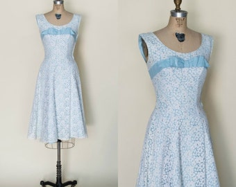 1960s Lace Party Dress --- Vintage Blue Lace Dress