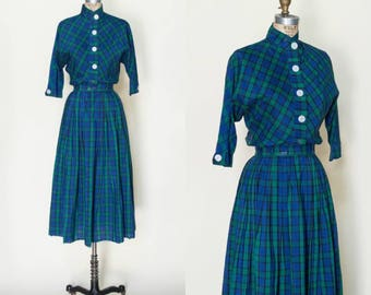 1950s Plaid Skirt and Blouse --- Vintage Navy Plaid Outfit