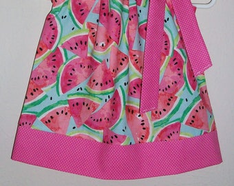 Pillowcase Dress with Watermelon Birthday Party Dress Watermelon Dress Pink Melon Dress with Fruit Watermelon Clothes Summer Dresses