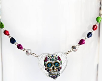 Sugar Skull Day of the Dead Necklace