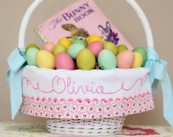 PRE-ORDER 2019 Personalized Easter Basket Liner, GIRLS Monogrammed Easter Basket fits Pottery Barn Kids Sabrina Baskets, Hand Embroidery