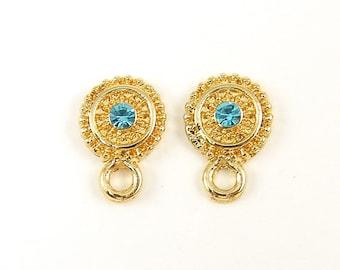 Aqua Rhinestone Post Earring Findings, Aqua Gold Stud Earring Findings, Aqua Gold Post with Loop Dressy DIY Bridal Special Occasion |B9-2|2