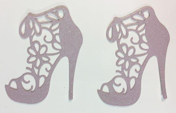 High Heel Shoe Glitter Die Cut Flower Lace Pastel Lavender Elegant Feminine Embellishment Scrapbook Greeting Card Art Craft Mixed Media Gift