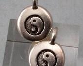 Small Yin Yang Charm, Antique Silver, TierraCast 2-Pc. TS124