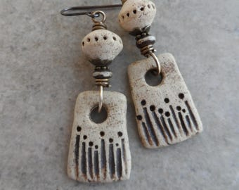 Nature's Garden ... Natural Ceramic and Brass Wire-Wrapped Rustic, Boho, Earthy, Primitive Earrings