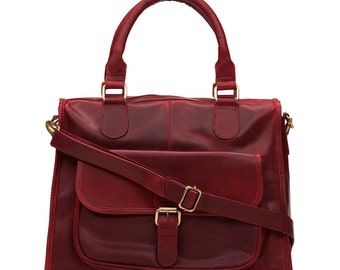 Leather Handbag Purse Pocket Bag, Red
