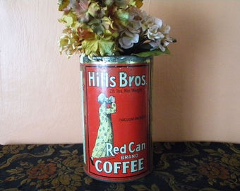 Large Antique Hills Bros Coffee Can Rare 2 1/2 lb Size Red Can Brand Metal Tin 1920's