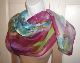 Vintage sheer chiffon polyester and nylon floral scarf, Made in Italy, 34 inch square pastel in watercolor style, Bonus Scarf Donuts
