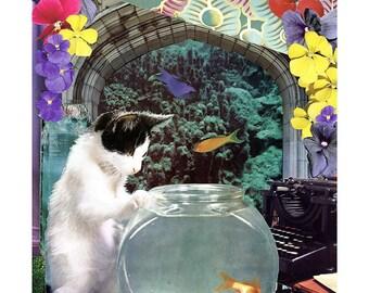 Pisces - StarCat - Zodiac Astrology Art Print - Cat Lover gift, gift for Pisces, February March birthday
