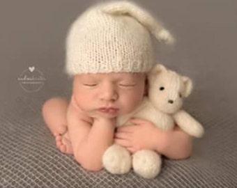 Newborn Photo Prop Knit Teddy Bear, hand knitted polar teddy bear stuffed toy