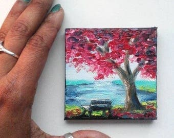 "Mini Oil Painting Bench under Tree by the River 3""x 3"" READY to SHIP"