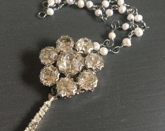 Trinket No 5 Vintage Rhinestone Pearl Repurposed Necklace Jewelry