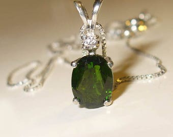 Chrome Diopside Pendant in Solid Sterling Silver with White Topaz Accent - Genuine, Natural Gemstones