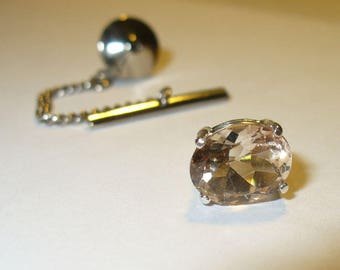 Champagne Topaz Tie Tack or Lapel Pin in Sterling Silver - Genuine, Natural Gemstone