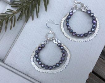 Freshwater Pearl Boho Hoop Earrings | Bohemian Sterling Silver & Pearl Beads