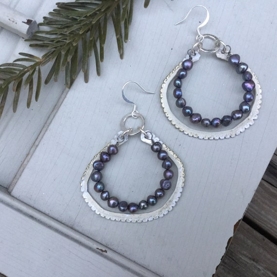 Freshwater Pearl Boho Hoop Earrings | Bohemian Sterling Silver & Pearl Beads