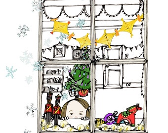 Winter Window original pen and ink drawing with digital colour drop