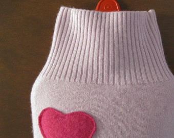 Cashmere Hot Water Bottle Cover. Gift for Mom. Cashmere Cover for Hot Water Bottle. Pale Purple with Pink Heart. Gift Idea for Sister