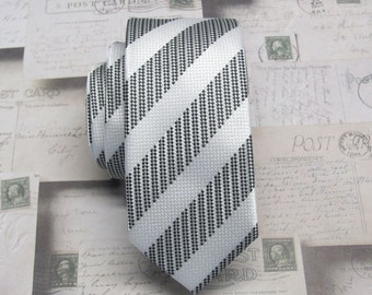 Mens Ties Skinny Tie. Black and White Stripes Skinny Necktie