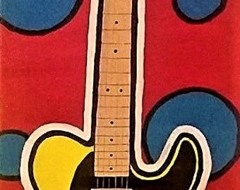 "Fender Telecaster 12"" x 36"" Yellow Vintage Hot Rod 52 Original Acrylic Pop Art Glow in the Dark Painting Modern Pop Art Primary Colors"