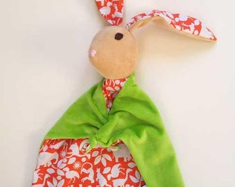 Baby Bunny Blanket , All Natural Materials, Safari in Orange