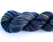 Midsummer Night--hand dyed sock weight yarn, 2 ply merino, cashmere, nylon (400yds/100gm)