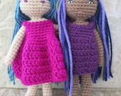 PATTERN, Small Crochet Doll Pattern, Amigurumi Doll Pattern, Crochet Doll in One Piece, Waldorf Doll, 8 inch Doll, Doll Dress Pattern
