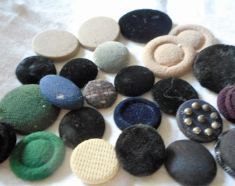 Lot of 20+ VINTAGE Larger Fabric Covered BUTTONS 2F